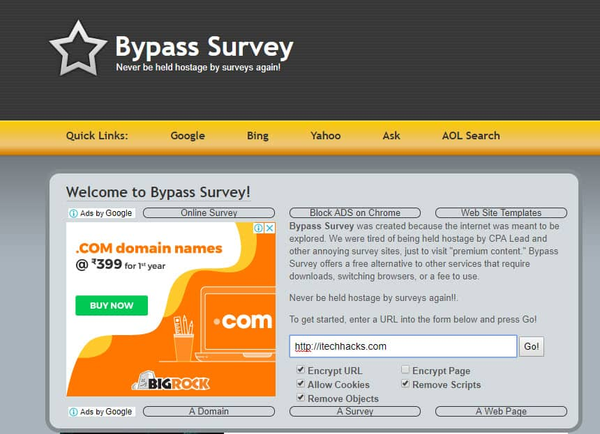 bypass survey android