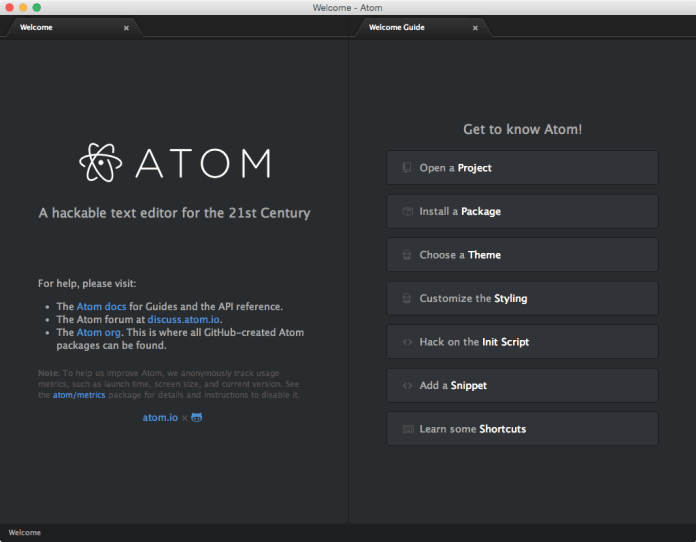 Atom  - Atom - Top 10 Best Text Editors For Mac OS (Latest) 2018