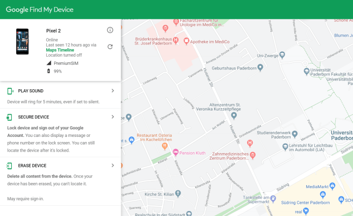Track and locate lost Pixel 2 or Pixel 2 XL