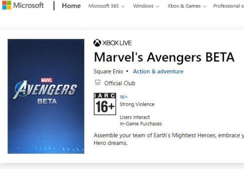 Microsoft XBOX Avengers Beta