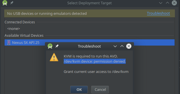 dev kvm android permission error