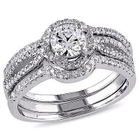 Amour Sterling Silver Cubic Zirconia 3-piece Engagement ...