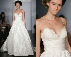 Amsale Ivory Silk Taffeta Ball Gown With Alencon Lace Bust