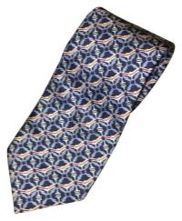 Burberry London Navy Blue Red Blue and White Men's Silk ...