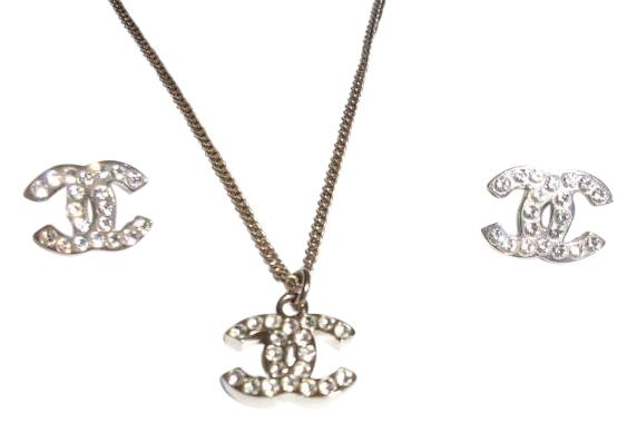 Chanel Silver Classic Crystal CC Logo Earrings & Necklace Set