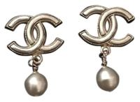Chanel SALE Large Iconic CC Pearl Drop Earrings
