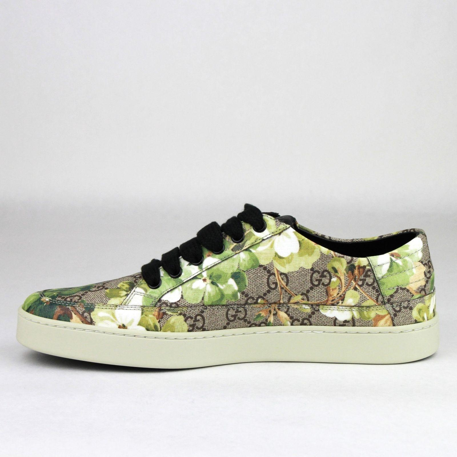 c9b0e82f0159 Gucci Green Men s Bloom Print Flower Sneaker 10G us 11 407343 8960