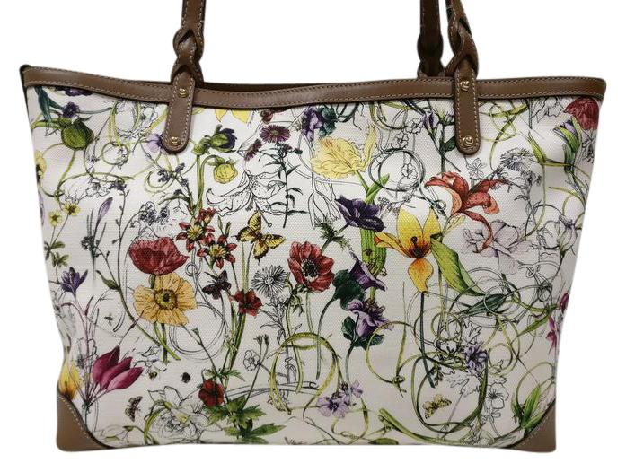 45bf8b740d Gucci Large Floral With Leather Trim Tote Brown Canvas Shoulder Bag