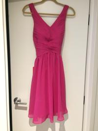 JJ's House Pink Chiffon A-line/Princess V-neck Knee-length ...