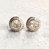 John Hardy Batu Sari White Topaz with Pave Diamonds Stud
