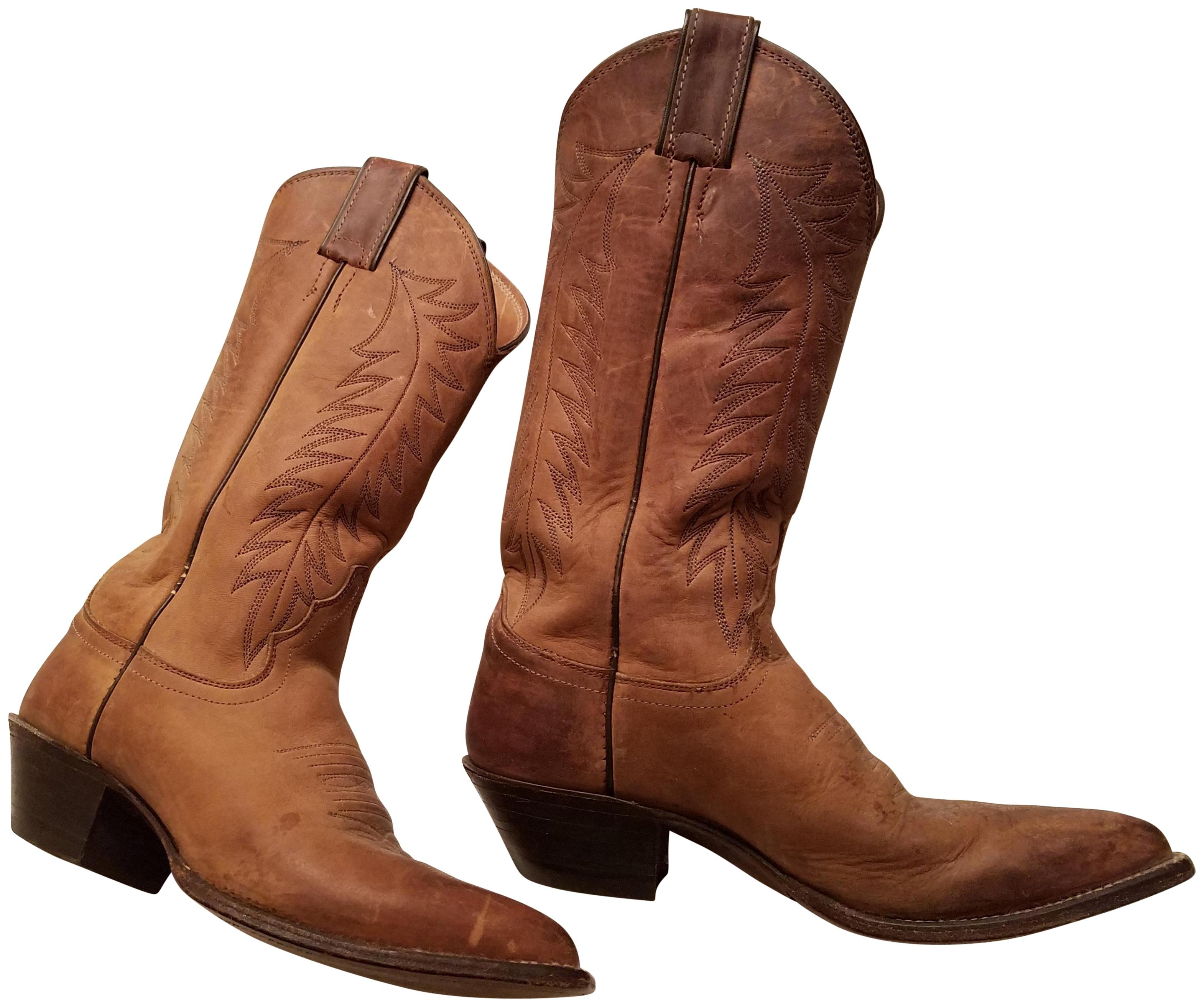 Justin Boots Brown Distressed Tall Cowboy BootsBooties