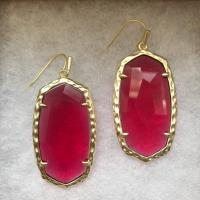 Kendra Scott Red Gold Faceted Stones Ella Drop Earrings
