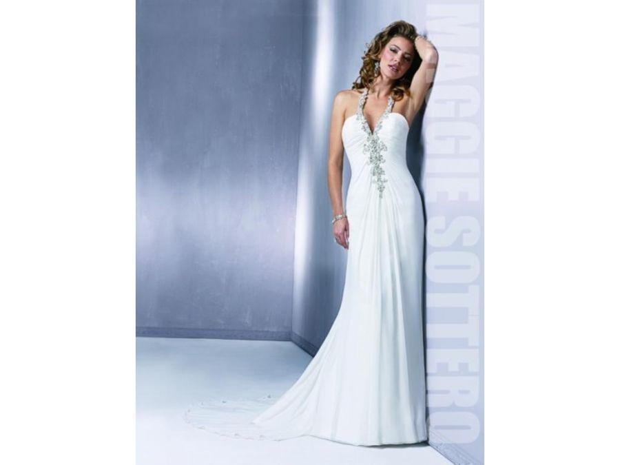 Maggie Sottero White Chiffon Reese Sexy Wedding Dress Size