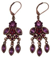 Purple, Coppertone Flower Chandelier Earrings #12791230