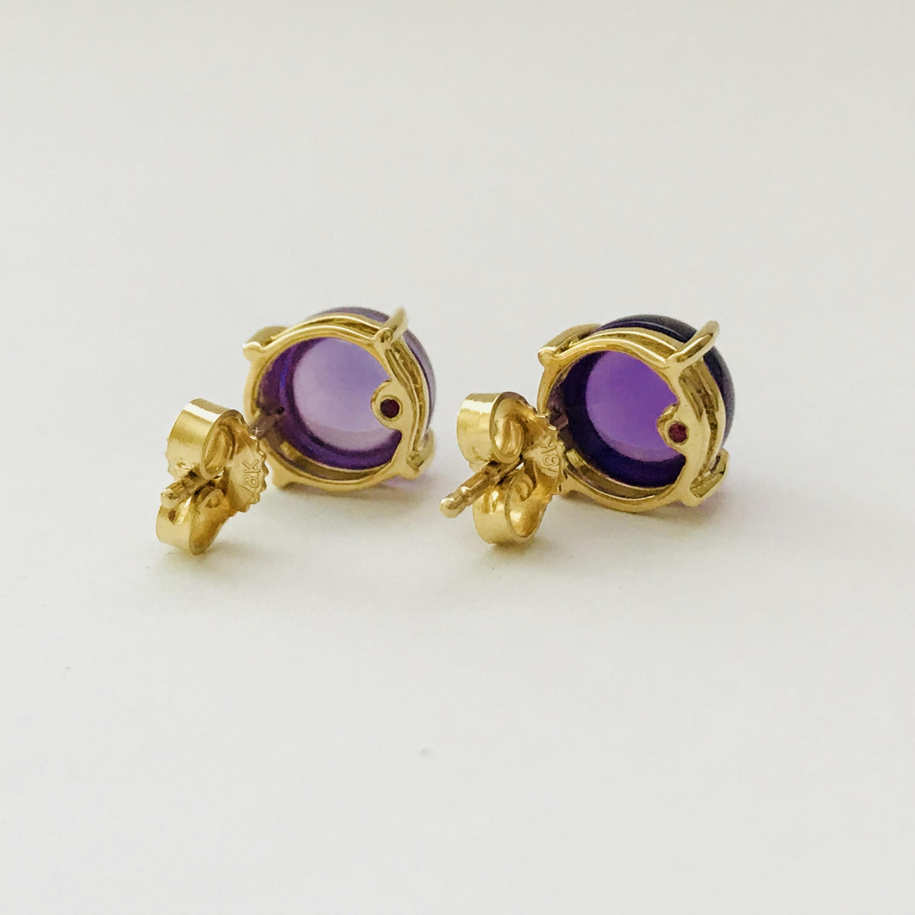 Roberto Coin 18k Yellow Gold Amethyst Round Stud Earrings