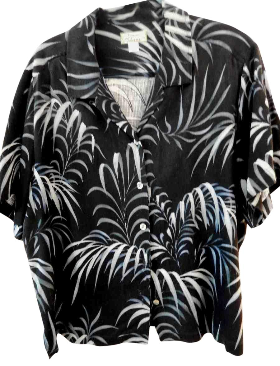 Tommy Bahama Black Vintage Silk Twill Shirt Xxl Blouse