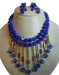 Cobalt Blue Vintage Necklace & Earrings Set Other from