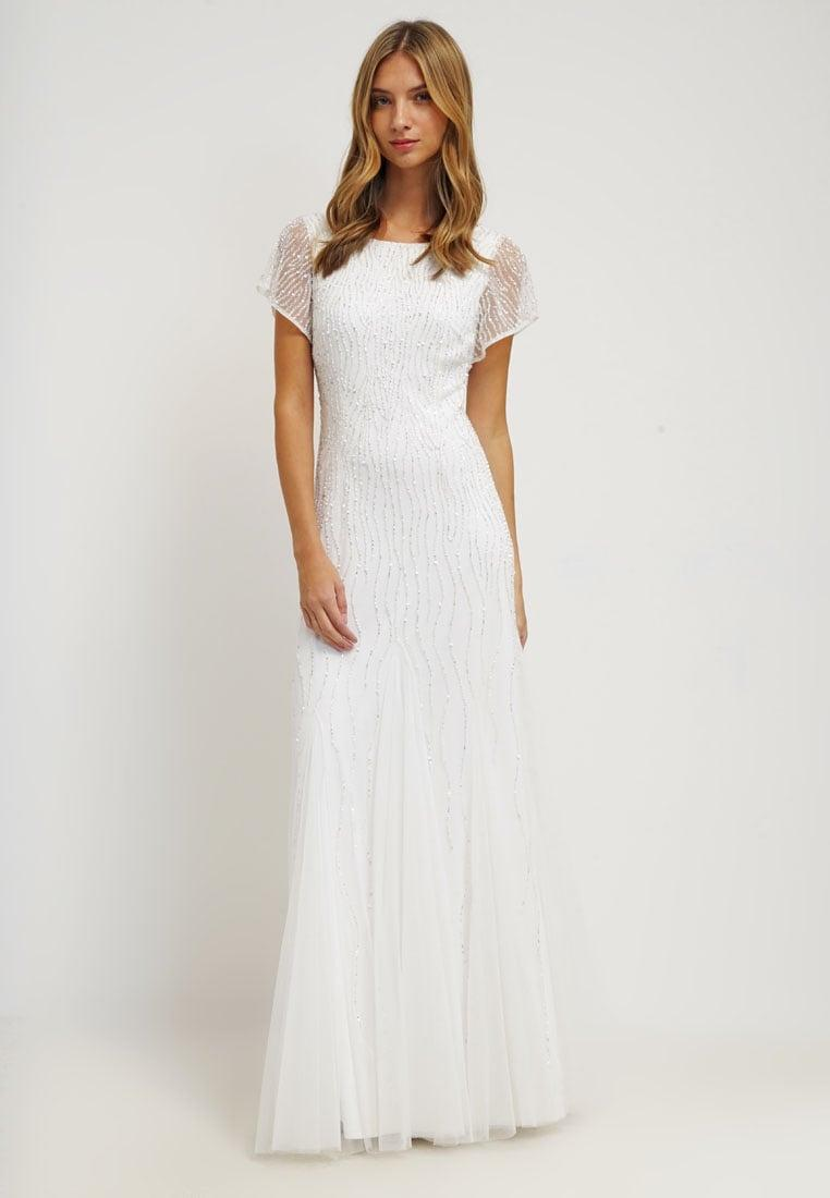 Adrianna Papell Ivory Short Sleeve Fully Beaded Gown with
