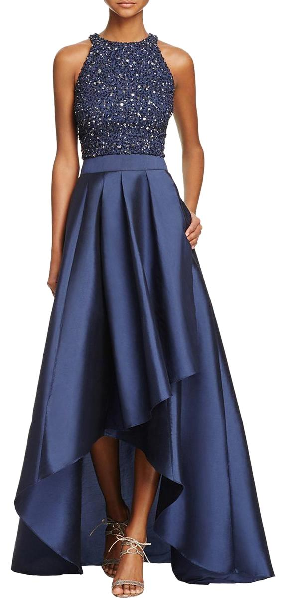 Adrianna Papell Navy Womens 2pc Beaded Hilow Crop Top Gown Long Formal Dress Size 10 M  Tradesy