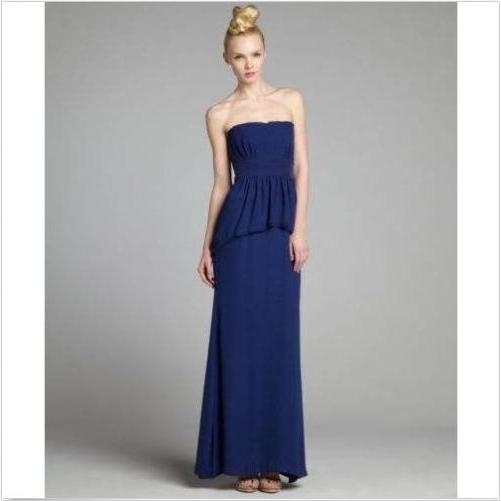 Peplum Maxi Dress 1pc Long Bcbgmaxazria Blue Depth