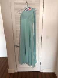 Bill Levkoff Mint Chiffon One Shoulder Bridesmaid/Mob