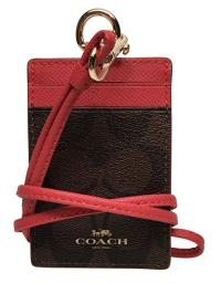 Coach Signature Brown Red Lanyard ID Badge Card Holder ...