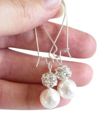 Swarovski Crystal ball and Pearl Earrings, #368501 - Jewelry