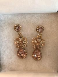 Pink Gold and Crystal Perfect Bridal Earrings