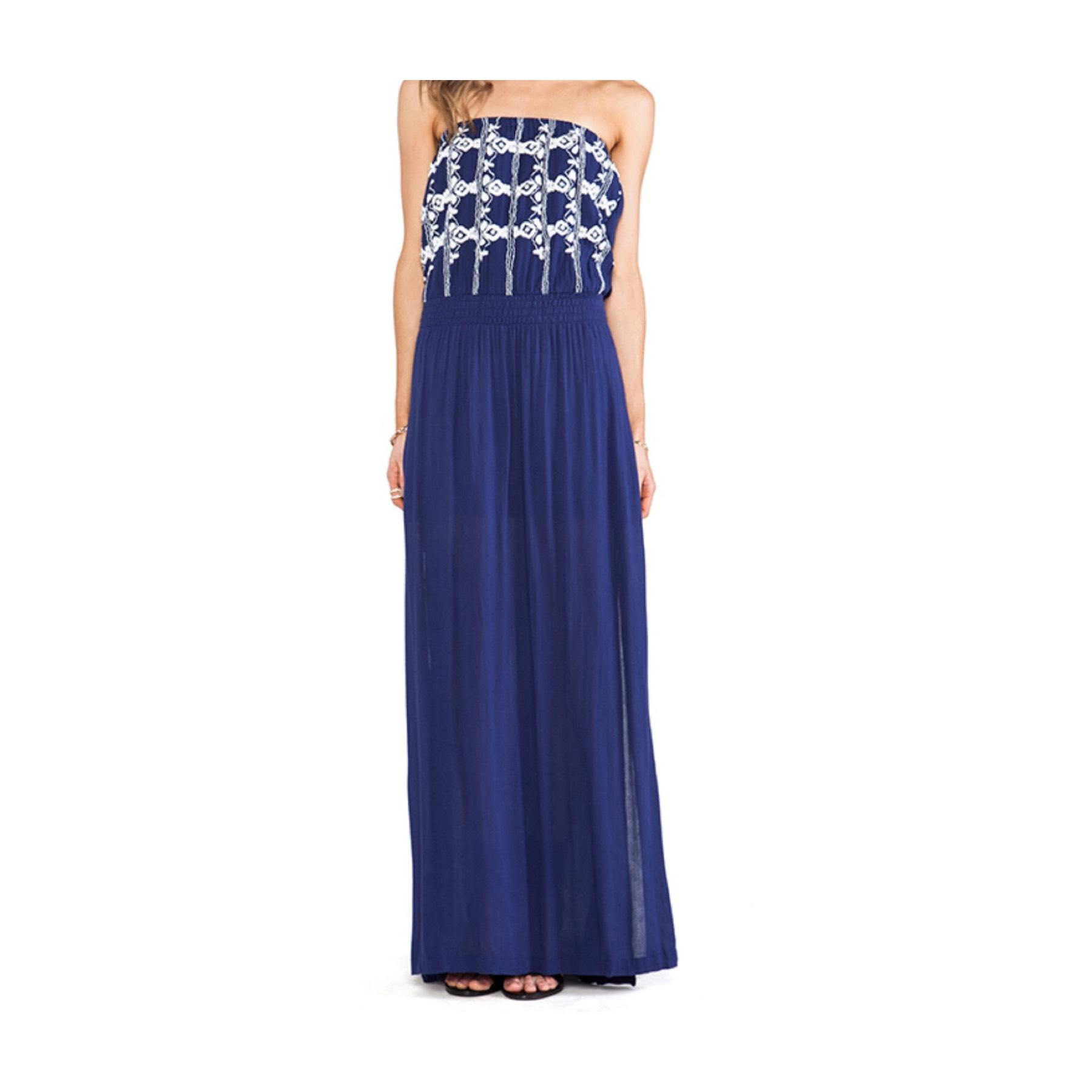 Lamade Navy Blue Embroidered Strapless Long Casual Maxi