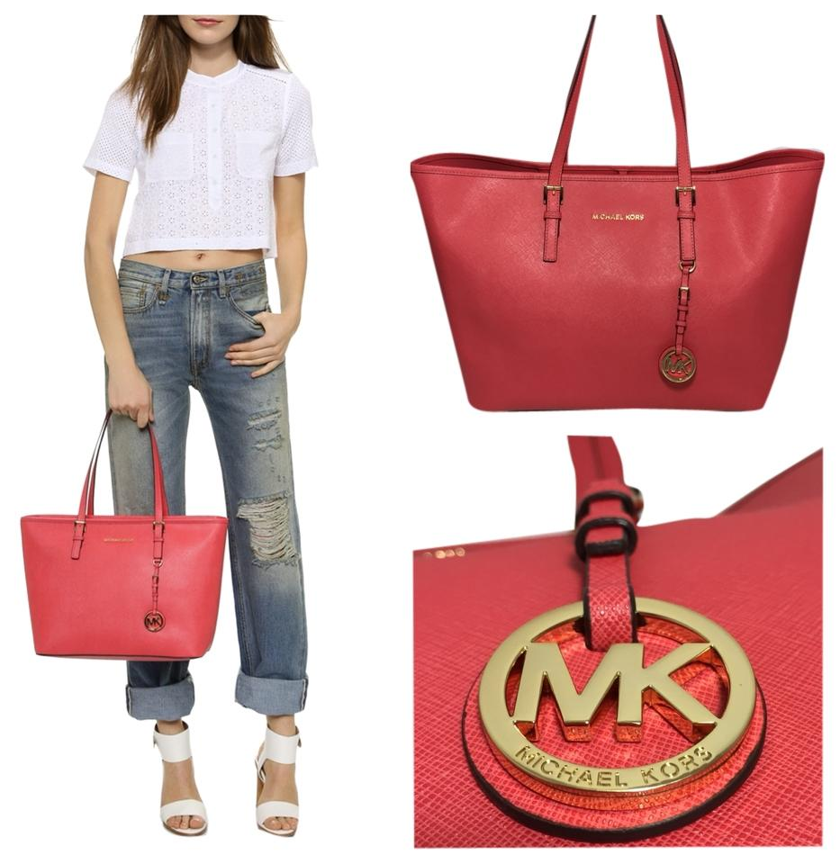 7a785fd46f5d Michael Kors Medium Jet Set Travel Watermelon Tote Bag On
