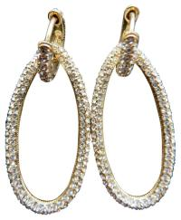 Nordstrom Gold Pave Oval Hoop Earrings