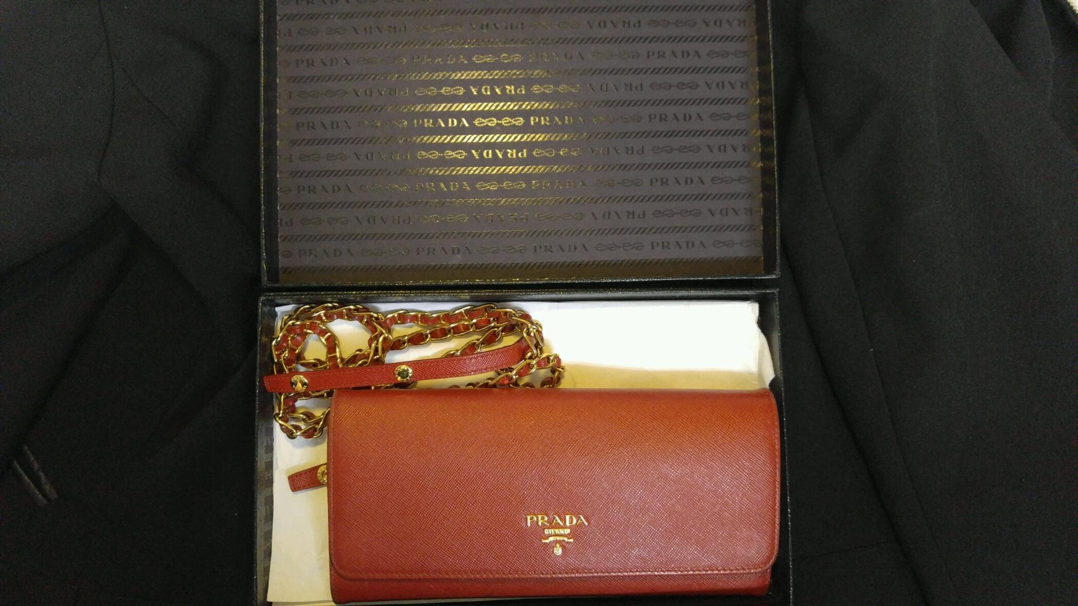 6de2cf34f02b ... ireland prada box saffiano wallet on chain comes with red leather cross  body bag tradesy d660b