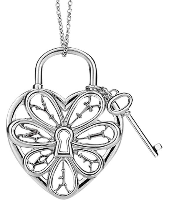Tiffany filigree heart pendant with key aloadofball Image collections