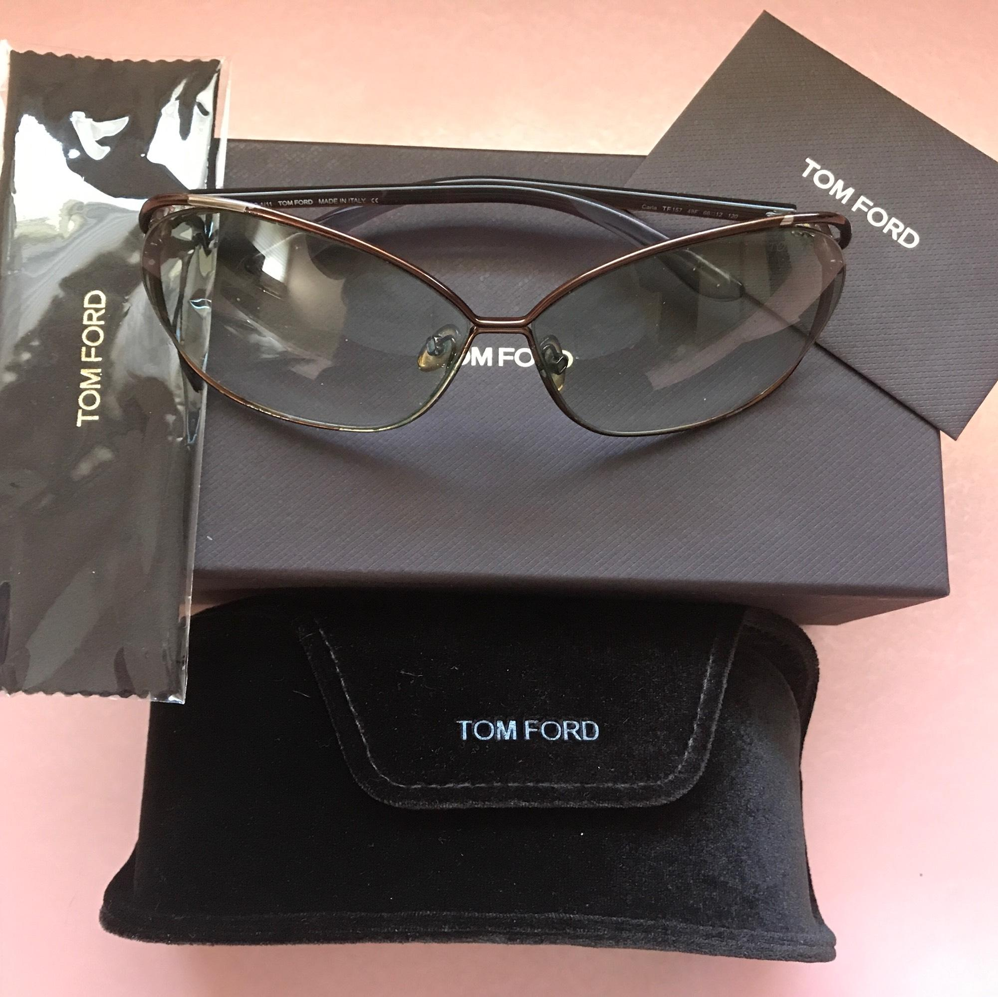Tom Ford Carla Oversized Sunglasses With Box Card Cloth