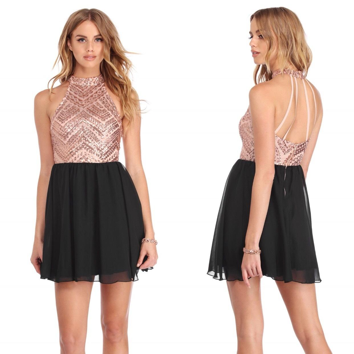 Windsor Black Tori Pink Chiffon Halter Party Short