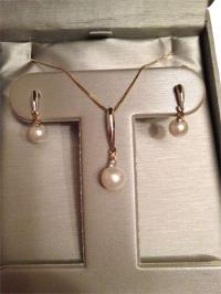 """Zales Outlet Freshwater Pearl """"X"""" Earring and Pendant Set ..."""