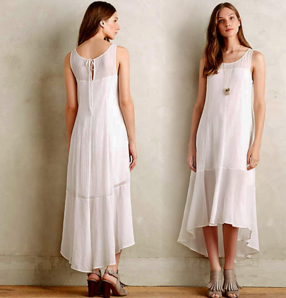 Anthropologie White Summer Cloud Mid-length Casual Maxi
