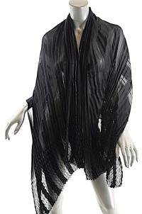 Black Silk Satin/Chiffon Striped Pleated Scarf/Shawl/Wrap ...