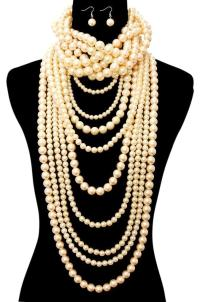 Pearl Choker Necklace And Earrings Trendyindians Pink ...