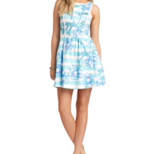 Lilly Pulitzer Blue White Pink And Green Sandrine #51996