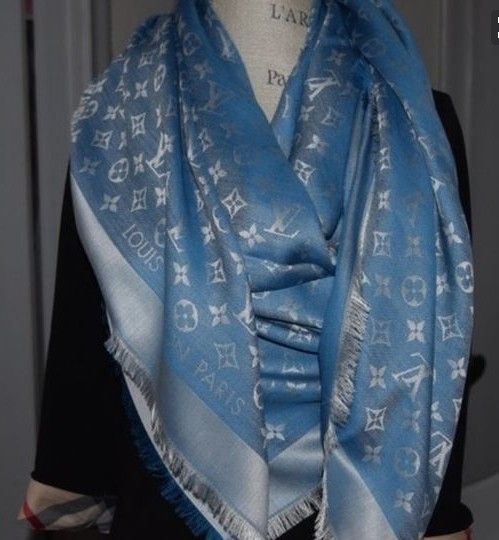 ea0d36a21 Louis Vuitton Denim Bleuet Monogram Silk Wool Shawl Scarf Wrap - Tradesy