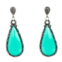 Neiman Marcus Green & Crystal Teardrop Earrings - Tradesy
