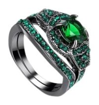 Green and Black 2pc Emerald Gold Filled Wedding Set 7 Ring