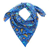 Roberto Cavalli Electric Blue Animal Print Shawl Scarf ...