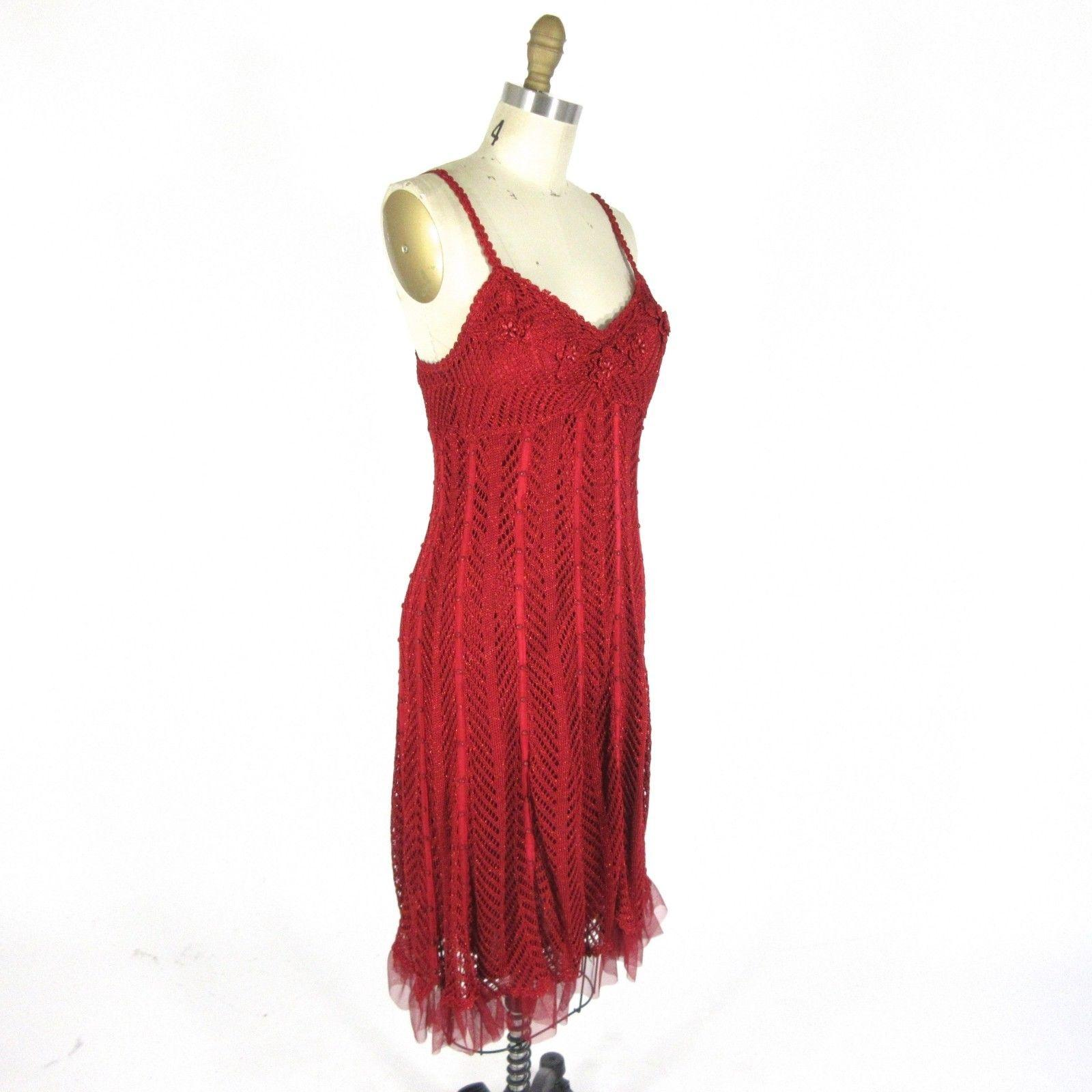 Sue Wong Red Metallic Flapper Great Gatsby Beaded Mid