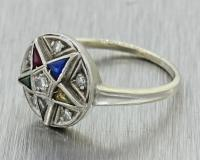 1930s 14k Solid White Gold Diamond Pentogram Eastern Star