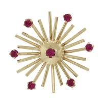 Yellow Red 1940s 14k Solid Gold .60ctw Ruby Snowflake ...