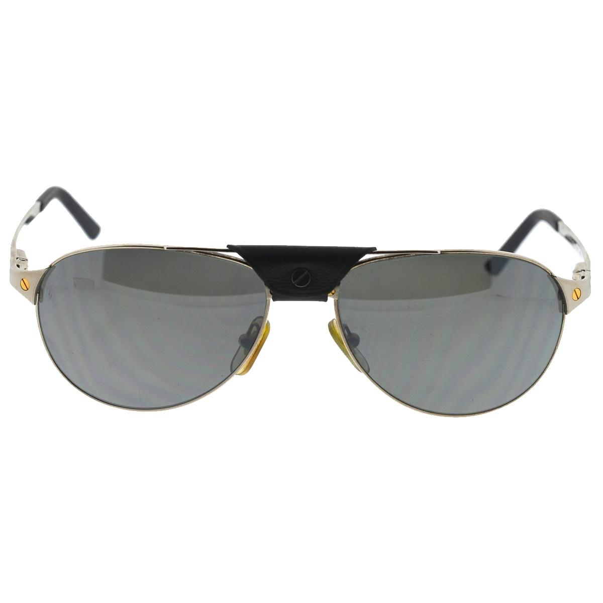 Cartier Silver Santos Dumont 130 Aviator Men' Sunglasses