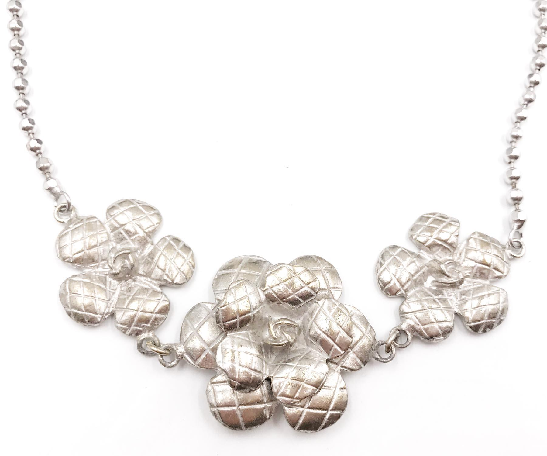 Chanel Silver Vintage Camellia Flower and Necklace Set