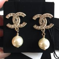 Chanel Gold Cc Crystal Pearl Drop In Earrings - Tradesy